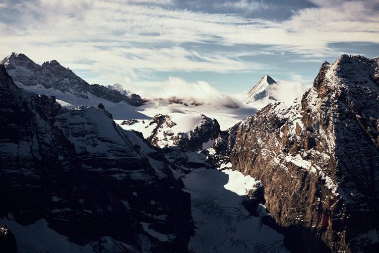 Helikopterflug von Zürich zu den Schweizer Alpen